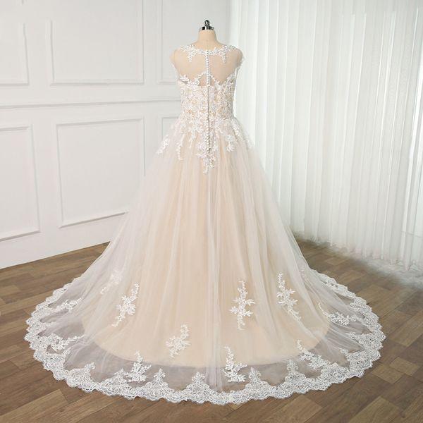 2019 Elegant White Lace A Line Wedding Dresses Custom Sheer Neck Hollow Back Bride Dresses Sweep Train Plus Size Wedding Gowns