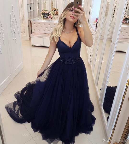 Fitted Navy Blue Prom Dresses V Neck Floor Length Tulle Beaded Sash Dresses Evening Wear Plus Size Turkey Junior Formal Gown 2019 Cheap