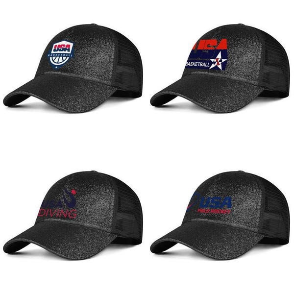 USA Basketball Logo black Womens Mens Hat Cap Dad Hats Cadet Army Caps Field Hockey Diving
