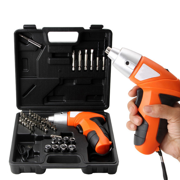 top popular Freeshipping 45Pcs 4.8V Cordless Screwdriver Drill Driver Bits Set Rechargeable Electric Tool 2021