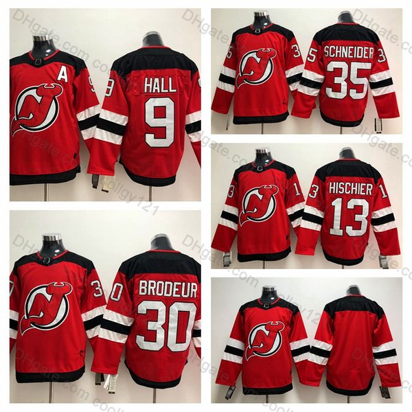 best service e2c64 6f291 2018 Mens New Jersey Devils 30 Martin Brodeur Jersey 35 Cory Schneider 13  Nico Hischier 9 Taylor Hall Stitched Hockey Jerseys Red White S XXXL From  ...