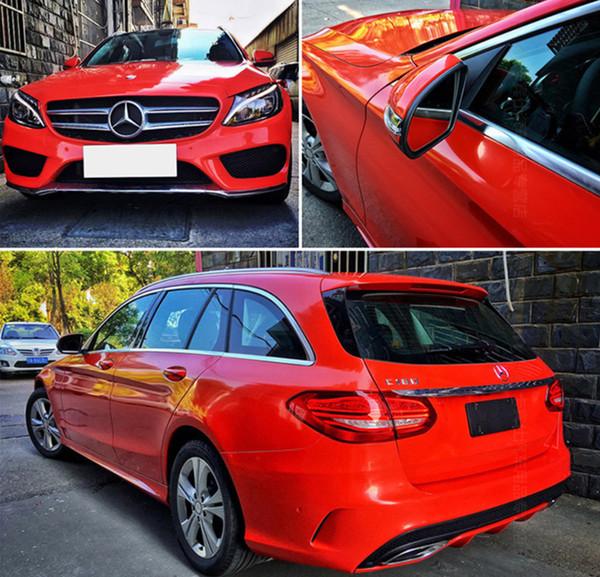 Súper Brillo rojo brillante película del vinilo del coche de la hoja Envolturas con aire libre Burbujas brillo rojo abrigo del coche de la etiqueta engomada 1.52x20 metros / rollo