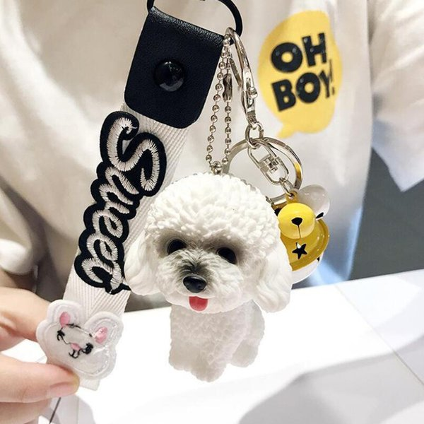 MOQ:10PCS Girls Fashion Jewelry Keychains Dog With Bell Cute Pendant Ornament Key Ring For Women Bags Car Decoration