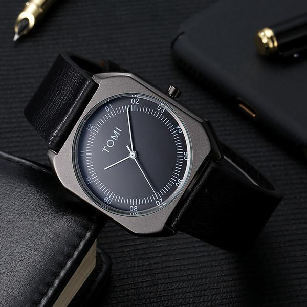 7e32549f0d8f TOMI Hombres de Negocios Reloj de Pulsera de Cuero de LA PU Relojes de Las Mujeres  Marca de Lujo Famoso Señoras Casual Reloj de Cuarzo de Regalo Reloj Mujer