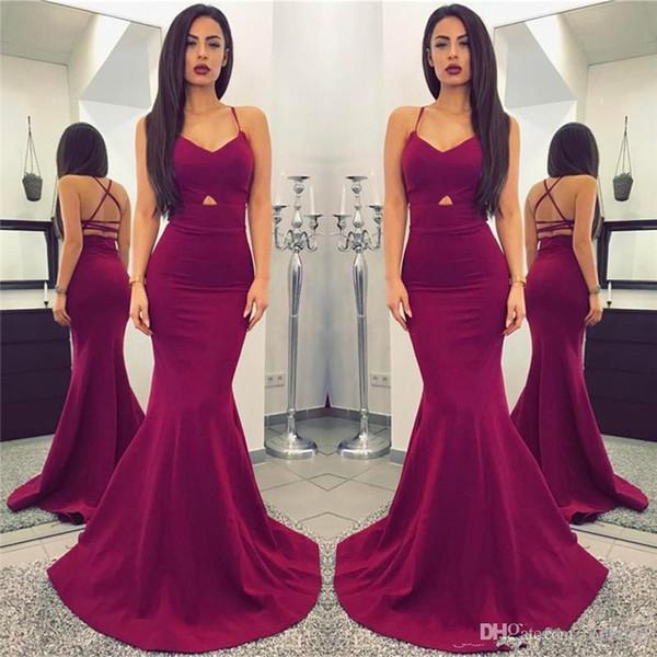 2019 Nova Barato Simples Ameixa Vestidos de Baile Sexy Spaghetti Straps Backless Até O Chão PROM VESTIDOS Vestidos De Noiva