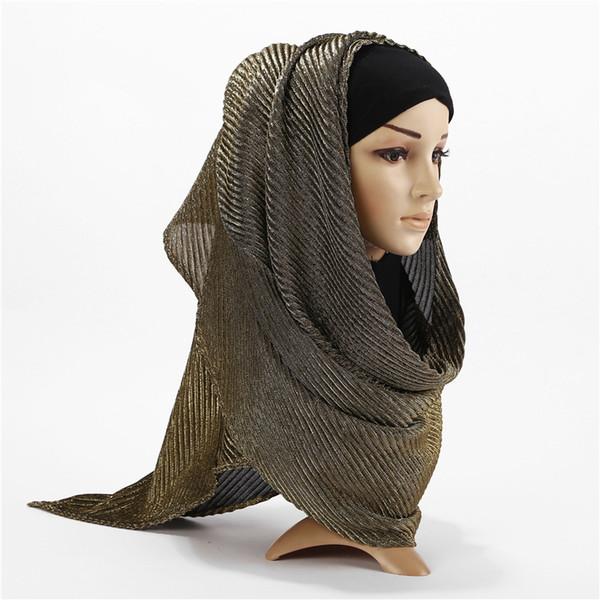 High-end femminile malese Hijabs di seta luminosa Signore semplice solido scialle lungo testa sciarpa femminile Daily Wrap Hijab Plain Musulmano moda Foulard