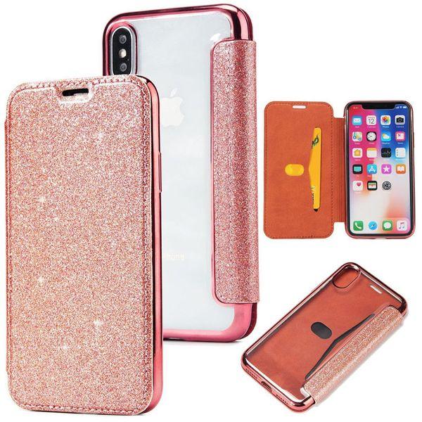 Bling Luxury Slim Book Leather + TPU Wallet Flip Funda para teléfono para iPhone 6 6S Plus 7 Plus 5 SE Funda para iphone 8 plus X XS XR