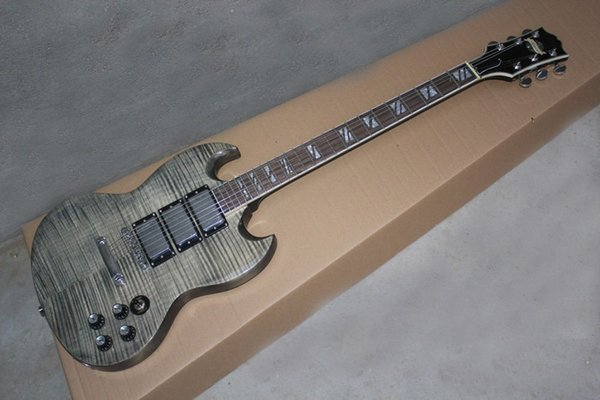 Custom Shop Flame Maple Top SG Уникальная электрическая гитара черный серый, блок грифа Инкрустация Chrome Hardware 3 Пикапы