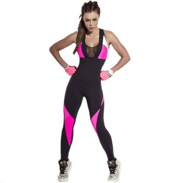 Svokor Druck Sport Anzug Weibliche Große Größe Gymnastik Overall Frauen Workout Strampler Backless Mesh Einteilige Outfits Overall Sets Q190419
