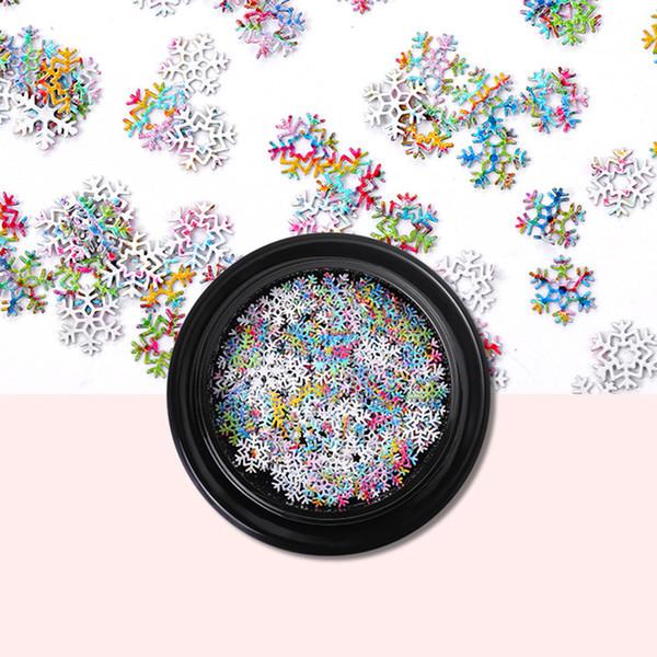Moda 3D Copos de nieve Lentejuelas Rebanadas Nail Art Sticker Decoración de Navidad Pegatinas de Uñas Art Manicure Supplies