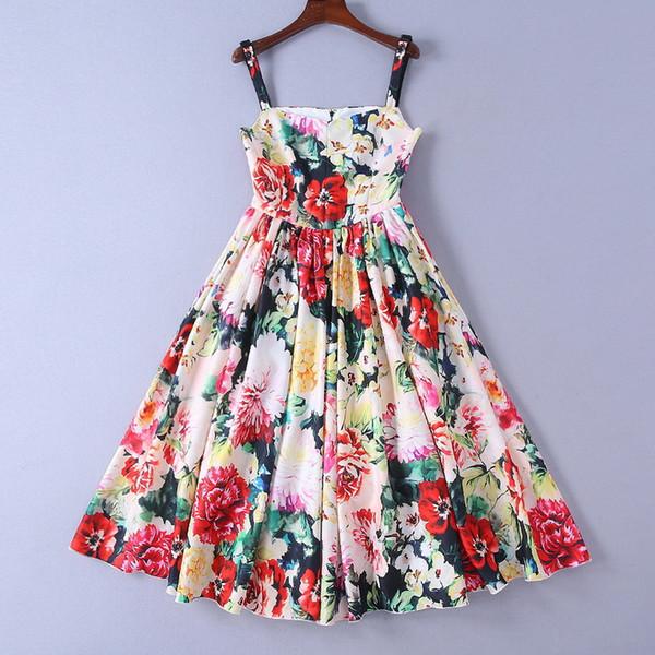 1221 2019 primavera verão runway dress império pescoço gola meados de bezerro sem mangas marca mesmo estilo dress luxo sh