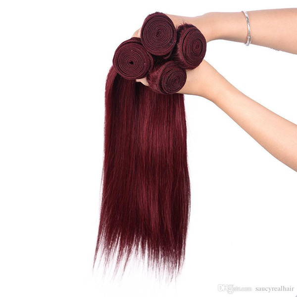 Large Promotion 4 Bundles/lot Color Burgundy Straight Malaysian Hair Extensions 99J Red Wine Straight Human Hair Weave Good Deals, Free DHL