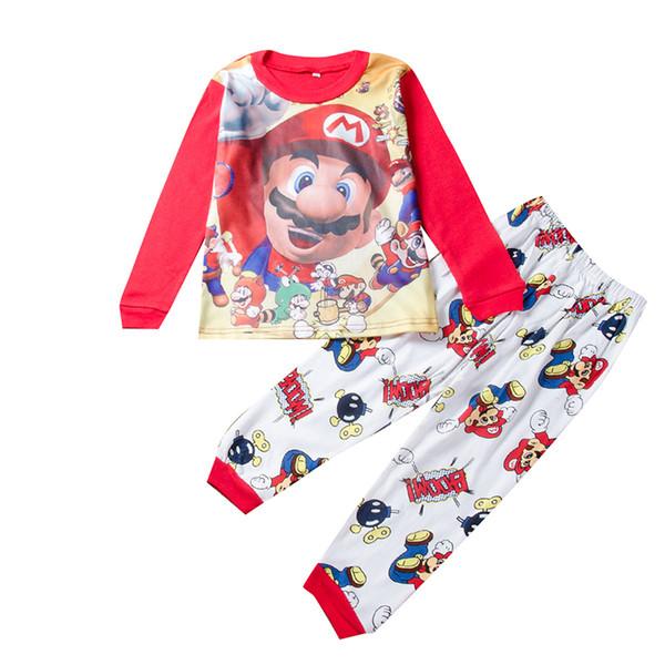 Детская дизайнерская одежда для мальчиков Super Mario с принтом нарядов для детей топы + брюки 2 шт. / комплект 2019 весна осень пижама детская одежда наборы C1304