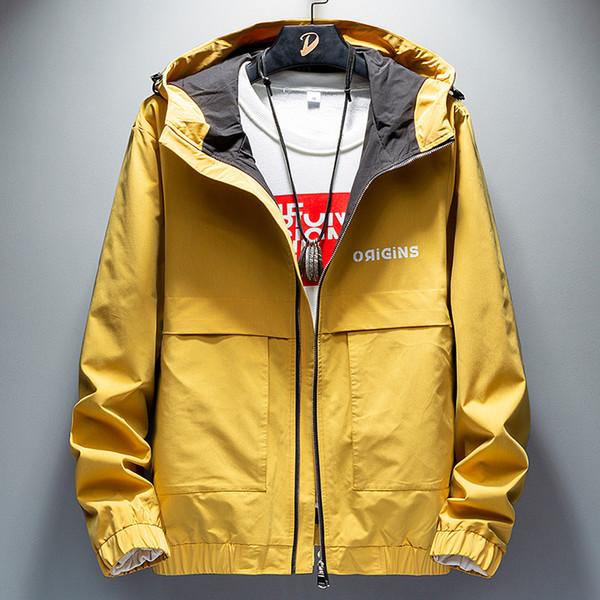 La primavera y el otoño de vestir exteriores para hombre de estilo coreano marca de moda con capucha de la cremallera de la chaqueta para hombre Ropa Talla M - 4XL