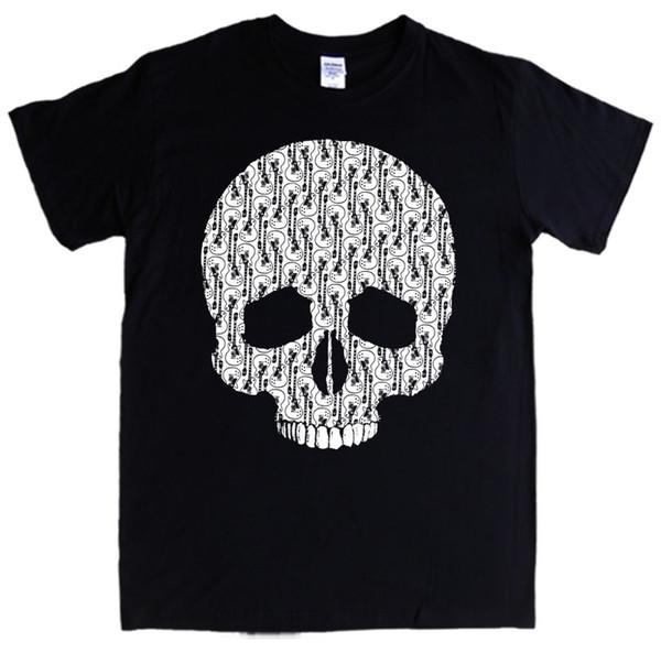 GUITAR SKULL T-shirt S- 3XL skeleton rock metal bones electric MEN LADIES KIDS