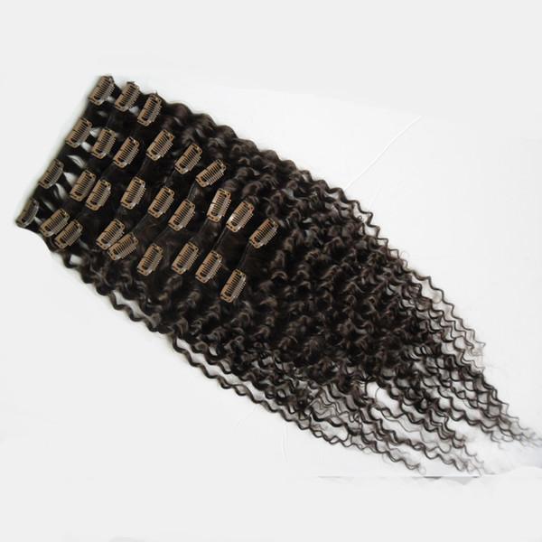 Новые ближайшие девственные монгольские человеческие волосы 4a/4b / 4c афро кудрявый вьющиеся клип в наращивание волос 8 шт./компл. полная голова наборы 100 г