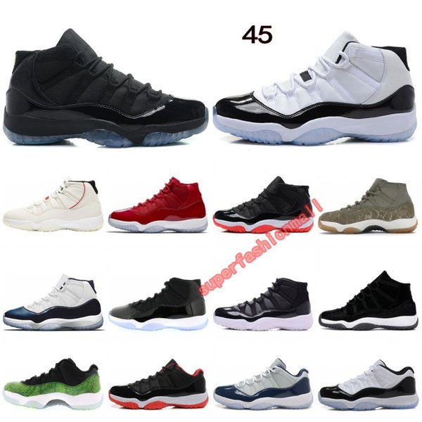 11 Basketball Shoes Concord 45 Platinum Tint Cap and Gown Space Jam Win Like 96 Designer Shoes Men Women Sports Sneakers Size 36-47
