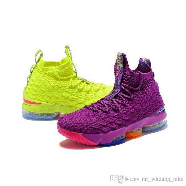 Compre Zapatillas De Baloncesto Lebron 15 Para Hombre A La Venta Oro Púrpura Amarillo Naranja Verde Niños Niños Jóvenes Zapatillas De Deporte Al Aire