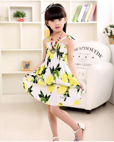 Estate ragazza vestire abiti per bambini stile cinese vestito da spiaggia bohemien spiaggia abiti in cotone con collana ragazze moda abbigliamento
