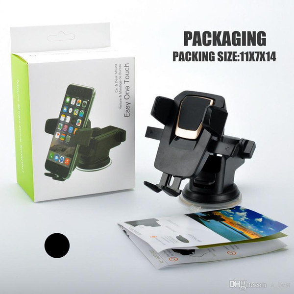 360 Degree Rotating Car Mounts for iPhone X Samsung Android Cellphone Easy One Touch Smart Phone Holder Handfree Dashboard Rack with Package