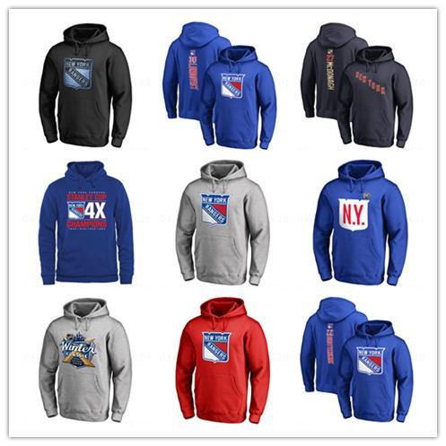 Chandails à capuchon de hockey bleus de la marque 18 19 des Rangers de New York pour hommes Henrik Lundqvist Blue Vestons de sport imprimés