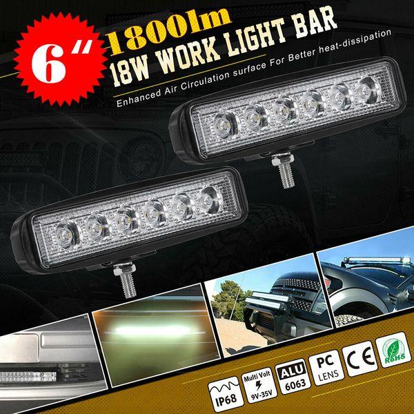 1pc/2pcs 18w spot led work light bar universal driving fog off-road 6000k suv truck lamp 8000lm