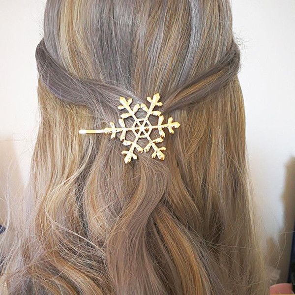 1PC Trendy Hollow Snowflake Hairpins Women Metal Hair Clip Lady Hairpin Girls Jewelry Barrette Hairclip Hair Accessories New