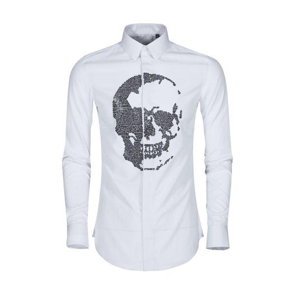 2019 new skull-head crystal diamond shirt men's spring long-sleeved dress shirt men plus 3XL autumn cotton high quality fit slim social shir