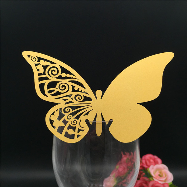 60PCS DIY Place Card butterfly Cups Glass Wine Customized Wedding Name Cards Laser Cut Pearl Paper Card Birthday Party Decoration