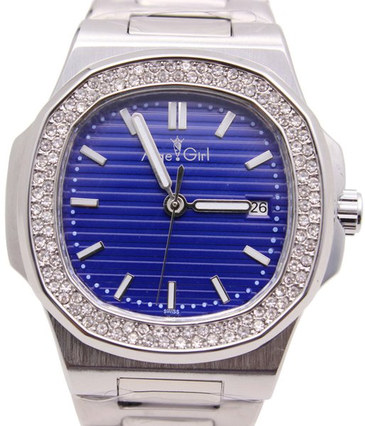 Luxury Brand New Automatic Mechanical Men Watch 2 Rows Diamonds Transparent Glass Back Silver Black Blue Coffer Luminous Watches