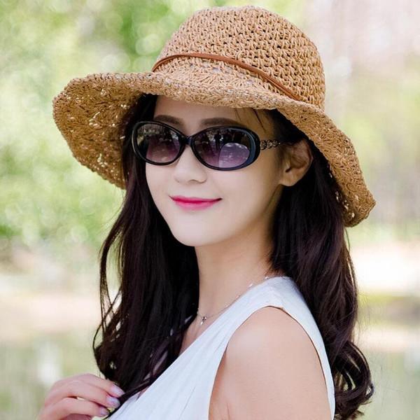 Sommer Solide Bast Stroh Eimer Hut Fishman Cap Faltbare Gehäkelte Strohhut Mädchen Große Krempe Strand Sonnenhüte für frauen