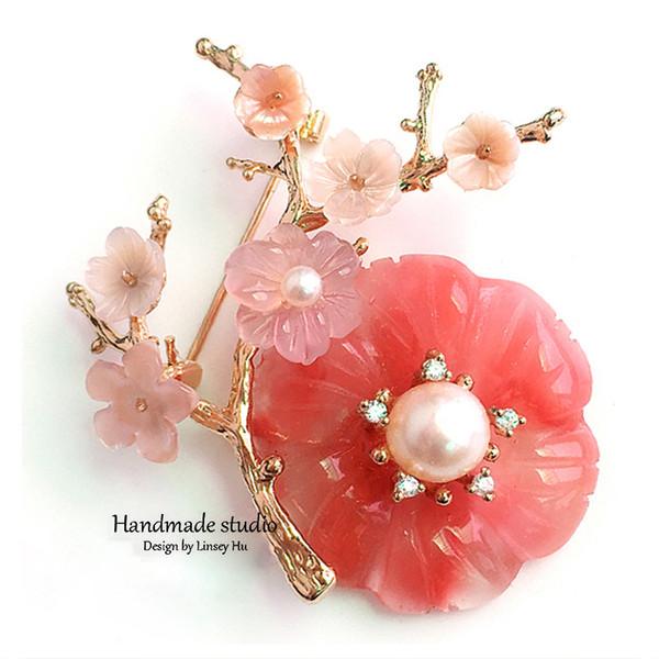 Nouveau mode perle Broche fleur Broche pour les femmes de la mode Belle Bijoux Lady chandail costume veste accessoire Brooches Bijoux XZ3003