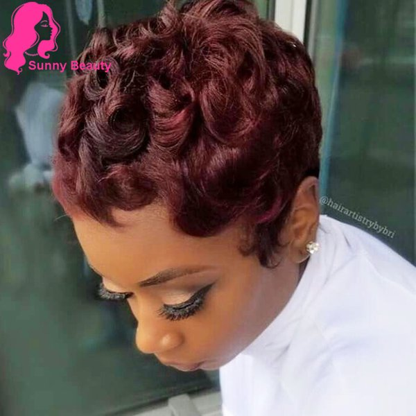100% Human Hair Wigs Short Finger Wave Mommy Wig For Black Women Burgundy Red Color 99J Finger Wave Wigs Stylish Capable For Black/White sex