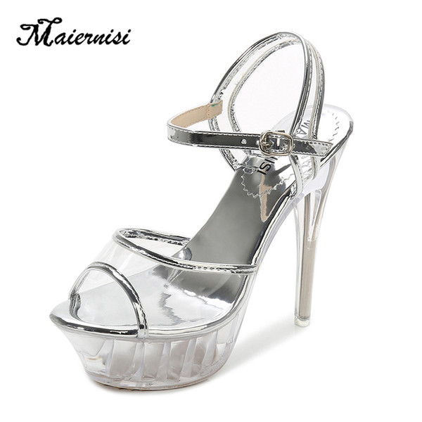 Maiernisi High Heels Womens Sandals Transparent Crystal Female Thin Heel Model T Stage Sexy Lady Heeled Shoes Plus Size 35-43 Y19070203