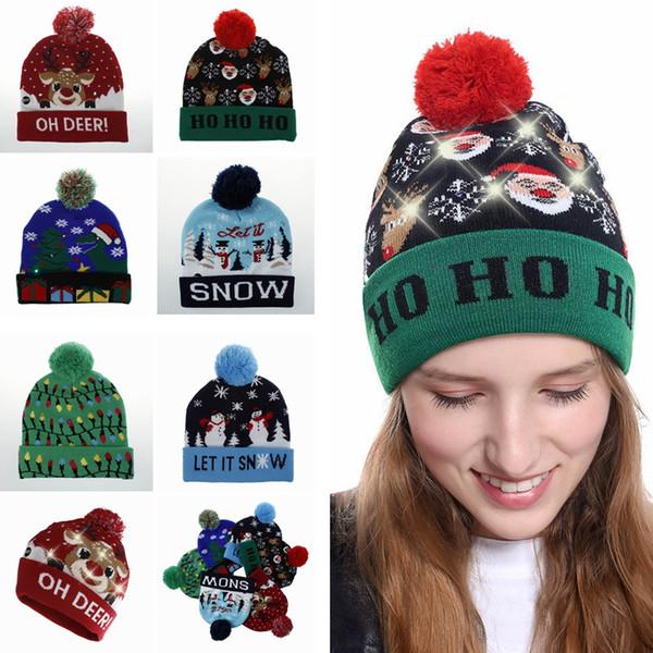 FAshion LED Weihnachten Strickmütze Fashion Xmas Light-up Beanies Hüte Outdoor Light Pompon Ball Ski Cap TTA1505