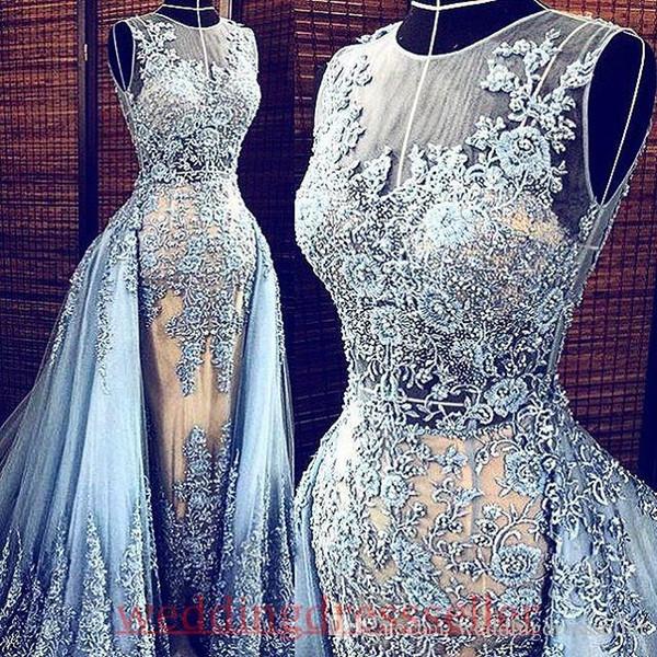 Real Bilder Light Blue Elie Saab 2019 Abendkleider Abnehmbare Zug Transparent formale Kleider Partei-Festzug-Kleider Promi-Prom Lange