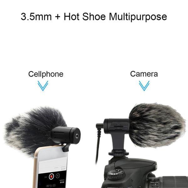 1 stück video micro compact aufnahmemikrofon / künstliche pelzmuff wickler mikrofon für dslr kamera smart phone