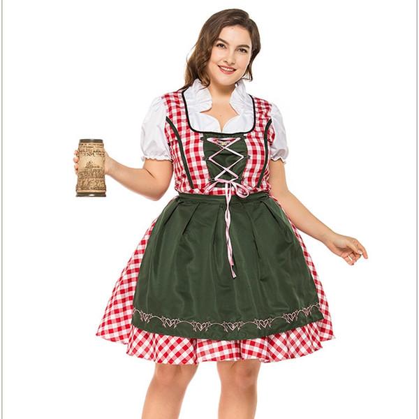 2pc / Set Традиционного Dirndl немецких Баварский Beer Girl Костюм Октоберфест Фестиваль Костюмированный плюс размер
