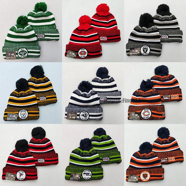 Горячие Продают Американский футбол шапка NFL100 Теплая вязаная шапка с бархатными Спортивными шапками для взрослых Бесплатной доставки