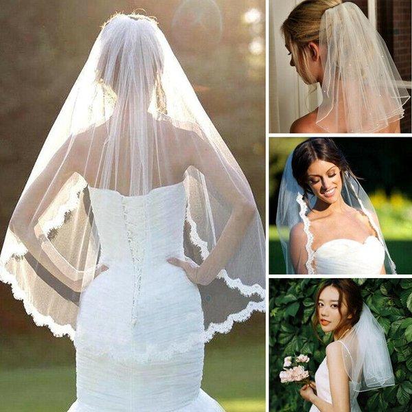Düğün Malzemeleri Tül Gelin Veil Beyaz Fildişi Güzel 1 Katman 80cm Tül Kesim Hem Düğün Gelin Veil ile Tarak Kafa