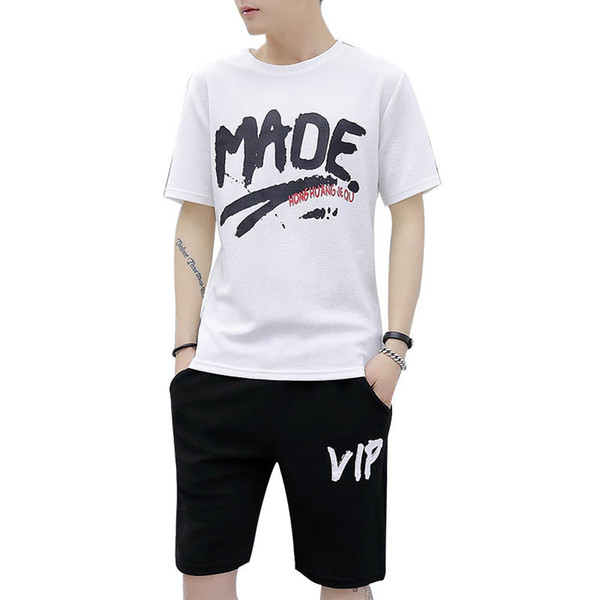 Men's Tracksuits 2019 Summer New Fashion Casual Sport Suits Men Cloth Two-piece Sets Thin T-shirts & Shorts Polyester Size M-4XL Wholesale