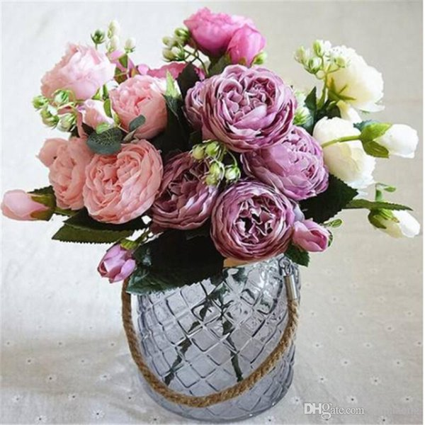 Wholesale!!! Beautiful 2018 Artificial Silk Peony Flowers Bouquet Fake Leaf Wedding Party Home Decoration Warm home romantic
