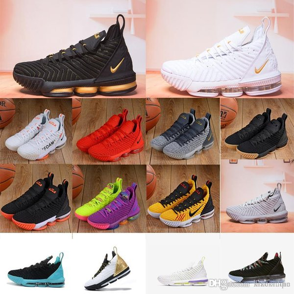 buy online 7aad6 fc173 Cheap new mens lebron 16 basketball shoes Purple Green All Red Orange  Yellow Gold Bruce Lee youth kids lebrons XVI sneakers tennis with box