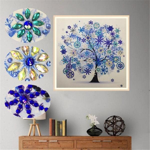 Bordado de diamantes flor de invierno árbol 30 * 30 cm en forma especial pintura diamante costura rhinestone 5d taladro diy pintura cristalina