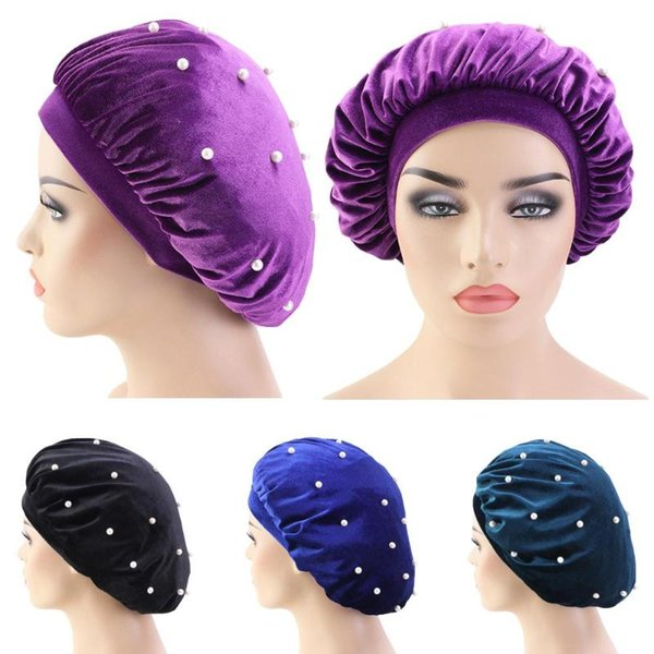 Femmes Velvet nuit de sommeil douce Cap Bonnet Bonnet Perles Turban tête écharpe perte de cheveux couverture extensible Sleeping Hat Nightcap Couvre-chef