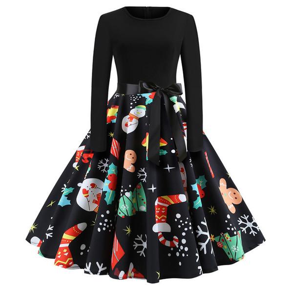 Winter Christmas Dresses Women Vintage Robe Swing Pinup Elegant Party Sashes Dress Long Sleeve Casual Plus Size Print Vestidos