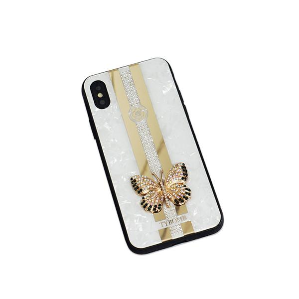 Iphone XS Max XR Casos Metal Diamonds Mariposa Electroplate Funda de teléfono TPU + PC Atrás Para iphoen 6 7 8 Más Casos Shell B153