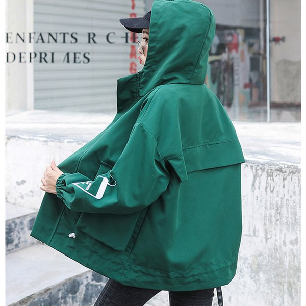 Элегантная куртка женщины весна осень 2019 новый свободный плюс размер оснастки верхняя одежда парень ветер Бейсбол униформа с капюшоном пальто G09