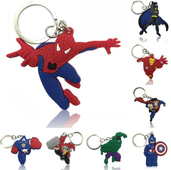 Avengers Anahtarlık Süper Kahraman Karikatür Anime Figürü Anahtar Zincirleri Yumuşak Anahtarlık PVC Anime Anahtarlık OOA6607
