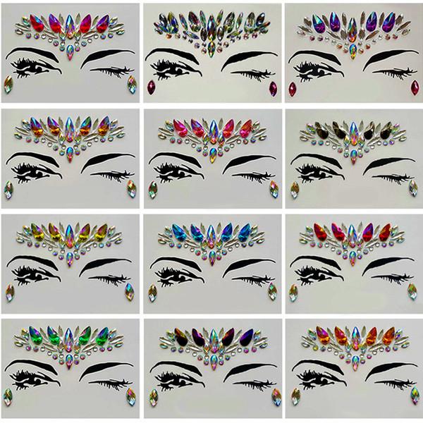 Diamante Etiqueta Bohemia Estilo Glitter Cristal tatuaje Pegatinas para las mujeres Frente de la frente Paster Decoraciones de la boda 13 estilos RRA1183